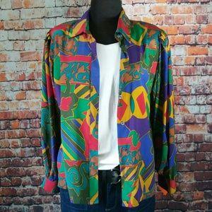 Classic 80's Vintage Multi Color Blouse Top Jacket